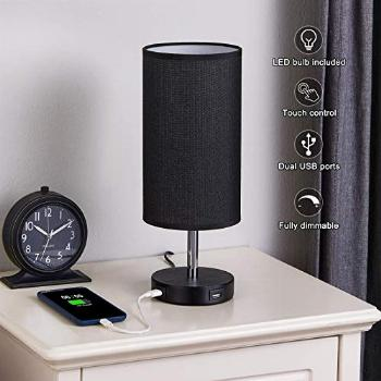 Bedside Lamp with 2 USB Ports Seealle 14 Inch Stepless