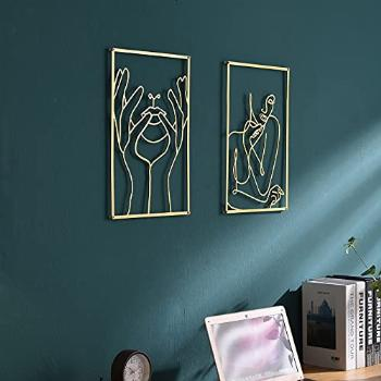 DeaTee 2 Pack Gold Wall Art Decor , 0.12'' Thicker Real