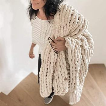 Hygge amp Cwtch Chunky Chenille Blanket   Chunky Knit Throw