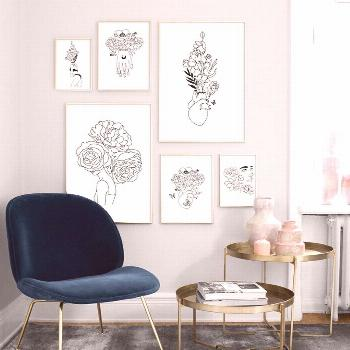Minimalism Black White Pictures Abstract Flower Girl Posters And Prints Wall Art Canvas Painting Fo