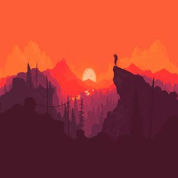 person standing on mountain cliff painting digital art video games simple background