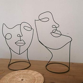 RISEON Set of 2 Modern Abstract Faces Metal Line Figure Art,