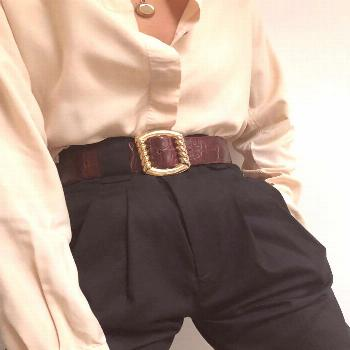 Styling Classic Pieces  Cream Button Up + High Waisted Black Trousers +Leather Belt