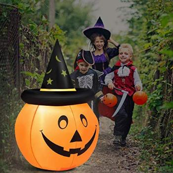 Tangkula 4 Ft Halloween Inflatable LED Pumpkin with Hat,